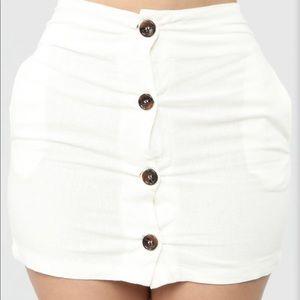 White Linen Mini Skirt
